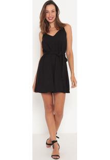 Vestido Liso Com Amarração- Preto- Tritontriton
