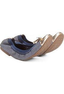 Sapatilha Shoestock Elástico Recorte Metalizado Feminina - Feminino-Marinho