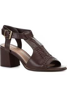 Sandália Couro Shoestock Salto Bloco Transpassada Feminina - Feminino-Marrom
