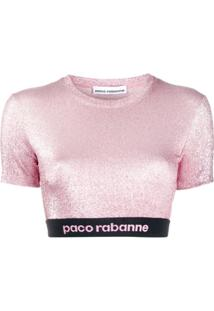 Paco Rabanne Blusa Cropped De Lurex - Rosa