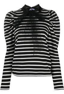 Redvalentino Blusa Com Listras E Detalhe De Amarração - Branco