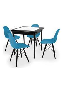 Conjunto Mesa De Jantar Em Madeira Preto Prime Com Azulejo + 4 Cadeiras Eames Eiffel - Turquesa