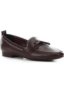 c51003f5b7 ... Mocassim Couro Shoestock Loafer Mini Tachas Feminino - Feminino-Vinho