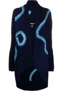 Suzusan Cardigan De Tricô Com Estampa Abstrata - Azul