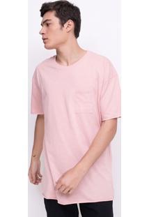 Camiseta Alongada Com Bolsinho