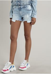 Short Jeans Feminino Reto Com Rasgos Azul Claro