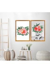 Quadro Love Decor Com Moldura Chanfrada Floral Dourado Mã©Dio - Multicolorido - Dafiti