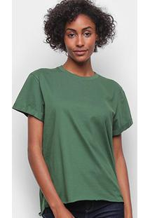 Camiseta Colcci Básica Ampla Feminina - Feminino-Verde Escuro