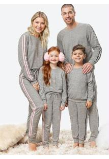 Pijama Cinza Feminino Moletinho Listras
