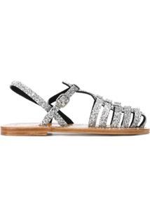 Golden Goose Deluxe Brand Sandália De Couro Com Aplicação De Paetês - Metálico