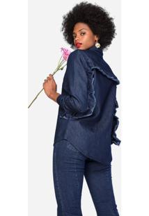 Camisa Amaro Jeans Com Babados - Feminino