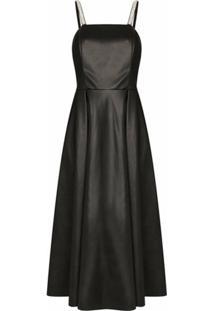 Anouki Vestido Evasê Com Aplicação De Cristais - Preto