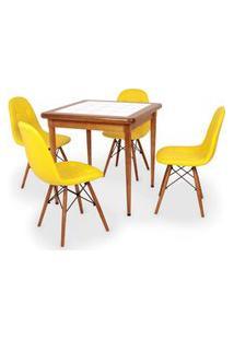 Conjunto Mesa De Jantar Em Madeira Imbuia Com Azulejo + 4 Cadeiras Botonê - Amarelo