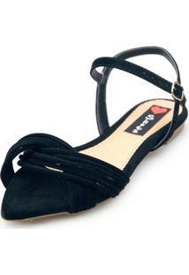 Sandalia Rasteira Love Shoes Bico Folha Tiras Cruzadas Preto - Tricae