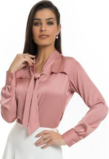 6ea430ad58 ... Camisa Rosa Antigo Feminina De Cetim Principessa Miriam