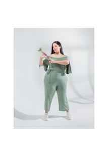 Macacão Ciganinha Almaria Plus Size Miss Taylor Liso Verde