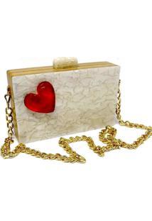 Bolsa La Madame Co Clutch Heart Pérola
