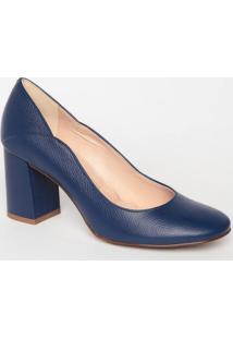Sapato Tradicional Em Couro Com Recorte- Azul Marinho