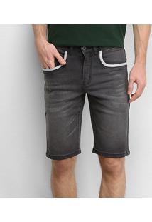Bermuda Jeans Gajang Estonada Masculina - Masculino-Preto