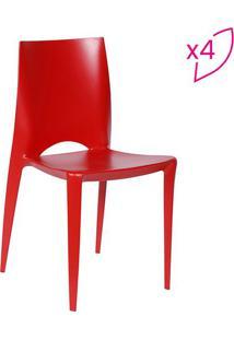 Jogo De Cadeiras Zoe- Vermelho- 4Pã§S- Or Designor Design