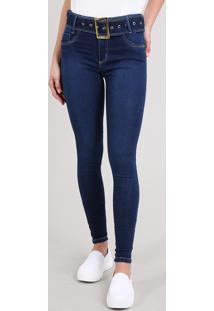 Calça Jeans Feminina Sawary Skinny Com Cinto Azul Escuro