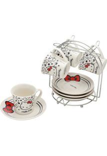 Jogo De Xícaras De Café Hello Kitty®- Branco & Vermelho