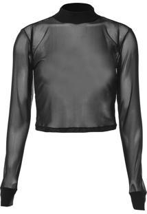 Blusa Cropped Calvin Klein Jeans Tule Lisa Preta - Kanui