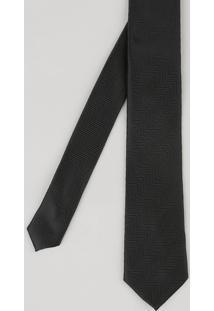 Gravata Masculina Em Jacquard Com Mini Print Preta