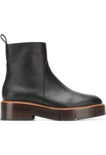 Clergerie Ankle Boot Com Sola De Madeira - Preto