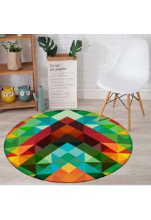 Tapete Redondo Wevans Triângulos Abstrato Color