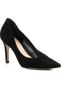Scarpin Couro Shoestock Salto Alto Bico Fino - Feminino-Preto