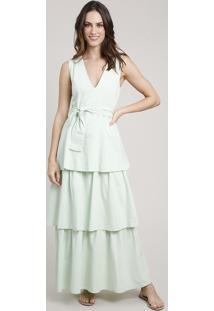 Vestido Feminino Mindset Longo Em Camadas Com Faixa Para Amarrar Sem Manga Verde Claro