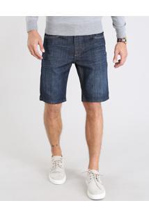 Bermuda Jeans Masculina Com Pespontos Azul Escuro
