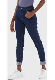 Calça Jeans Dzarm Skinny Pespontos Azul-Marinho