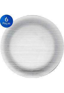Conjunto De Pratos Rasos Diamante 6 Peças - Duralex - Transparente
