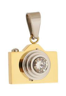 Pingente Câmera Tudo Joias De Aço Inox Modelo Dourado - Unissex-Dourado