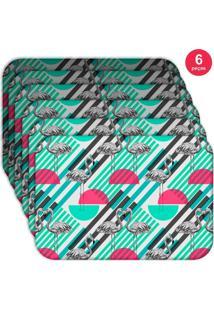 Jogo Americano Love Decor Wevans Flamingos Geométricos Kit Com 6 Pçs - Kanui