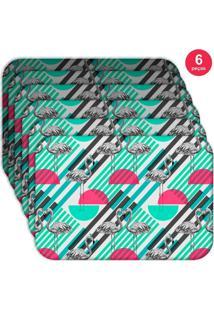Jogo Americano Love Decor Wevans Flamingos Geométricos Kit Com 6 Pçs