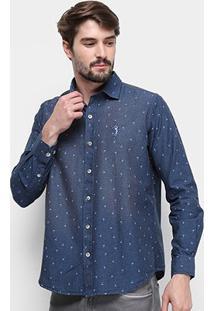 Camisa Jeans Manga Longa Aleatory Slim Fit Mini Print Tropical Masculina - Masculino-Azul Escuro