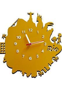 7abadd951d7 Amazon. Relógio De Parede Mdf Amarelo Tabaco Decorativo De Parede Moderno  Ilhós Me Criative ...