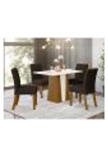 Mesa De Jantar Orus 120Cm 4 Cadeiras Vita - Nature/Off White/Marrom