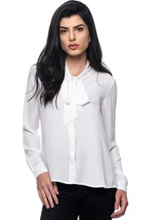 Camisa Intens Manga Longa Crepe Laço Branco