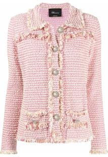 Blumarine Jaqueta De Tweed Com Aplicação De Botões - Rosa