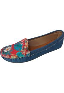 Sapatilha Mocassim Moda Pé Costurado À Mão Azul Jeans Floral