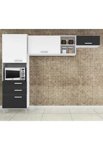 Cozinha Compacta 3 Peças Natália - Poquema - Branco / Preto