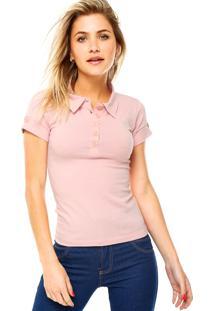 Camisa Polo Manga Curta Mrc Bordado Rosa