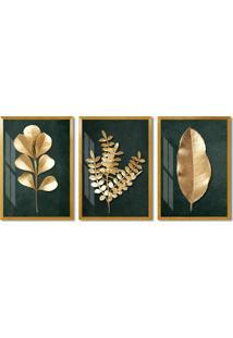 Quadro 65X135Cm Folhas Dourada Fundo Verde Decorativo