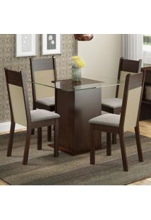Conjunto Sala De Jantar Madesa Dallas Mesa Tampo De Vidro Com 4 Cadeiras