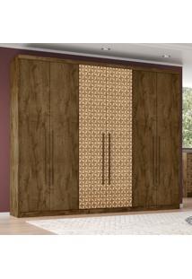 Guarda-Roupa Casal 6 Portas 4 Gavetas Evolution Made Rústica/Madeira 3D - Móveis Bechara