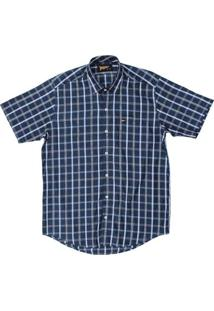 Camisa Manga Curta Fast Back Xadrez Masculina - Masculino-Azul Escuro